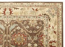 Ballard Brandon Brown Floral Handmade Wool Area Rug