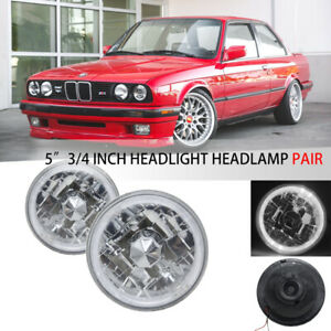 """Pair 5.75 inch 5 3/4"""" Round White Halo Diamond Cut Clear Lens Headlights Lamps"""