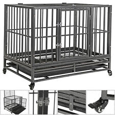 """New listing 36""""Portable Heavy Duty Dog Cage Crate Kennel Metal Pet Playpen Tray Wheel 2 Door"""