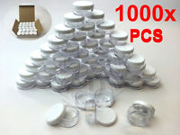 1000Pcs 5g White Cosmetic Empty Jar Pot Eyeshadow Makeup Face Cream Lip Balm 5ml