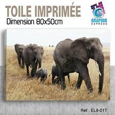 80x50cm - TOILE IMPRIMÉE- TABLEAU  POSTER DECO -ELEPHANT FELIN - EL8-01T