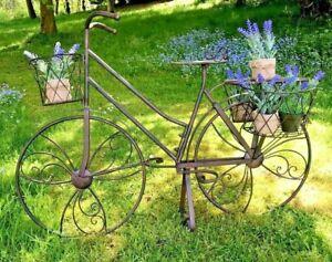 Bike Planter Garden Lawn Patio Ornament Metal Bicycle 3 Basket Planter Gift