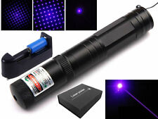 Military Purple Blue Violet Laser Pointer 1mW 405nm + 16340 Battery+Charger+Box