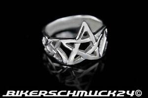 Pentagramm Ring Celtic offen 925 Silber Gothic Bikerring Herren Damen Geschenk