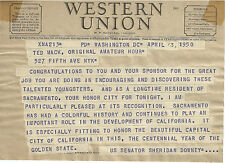 1950 WESTERN UNION TELEGRAM SENATOR SHERIDAN DOWNEY CA TED MACK AMATEUR HOUR