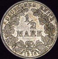 1916-D MS Germany Empire Silver 1/2 Mark - KM# 17