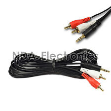 3.5mm Jack Aux to 2 RCA Male Stereo Phono Audio Speaker Adapter Cable 12ft