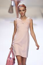 VALENTINO Pink Wool Pleated Bow Shift Dress 8