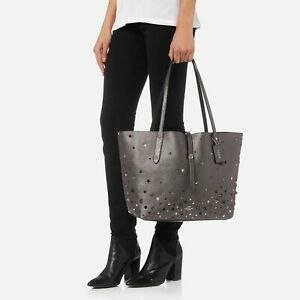 Coach Market Star Rivets Large Metallic Graphite Leather Tote 59504 HTF Rare