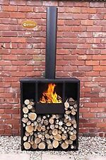 Gardeco Eeron Garden Fireplace Rectangular Extra Large Fire Pit With Log