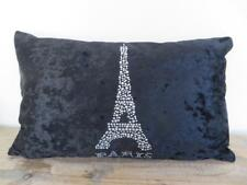 PARIS Diamantes Black Crushed Velvet Oblong Rectangle Cushion Cover 30x50cm