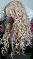 Beautiful Blonde Mix Lace Front Wig w/Long Bangs Long Curly Heat Safe