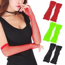 Crochet Lace Punk Gothic Disco Costume Long Fishnet Dance Mesh Fingerless Gloves