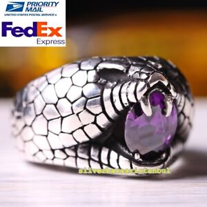 Roaring Lion Handmade Amethyst Stone 925 Sterling Silver Mens Ring All Size