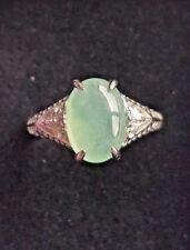 Genuine Icy Light Green 2.9ct Jadeite Jade(Type A) 925 Silver Ring SZ Adjustable
