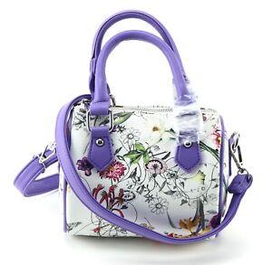 Small PURPLE & WHITE bowler style handbag FLORAL design shoulder bag cross body
