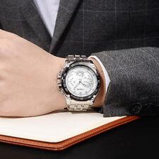 Hombre Lujo Acero Inoxidable Empresa Reloj Cuarzo Militar Chico Sport De Pulsera