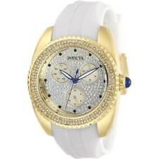 Invicta Women's Watch Angel Yellow Gold Case White Rubber Strap 28484