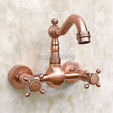 Antique Red Copper Wall Mount Bath/Kitchen Basin Sink Mixer Tap Faucet trg030