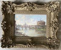 Impressionnisme Italie Rome Tibre Chateau St Ange Huile sig A Brandeis 1849-1926
