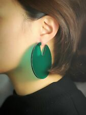 orecchini A perno Grandi Tondo Acrilico Verde Scuro Perla Leggero Semplice M3
