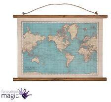 Sass & Belle Colección Clásica Mapa Del Mundo Colgante De Pared Lona Tapiz Hogar