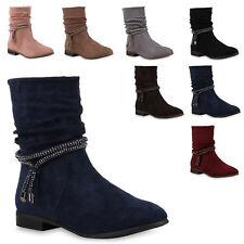 Klassische Damen Stiefeletten Gefüttert Strass Stiefel 812085 Trendy Neu