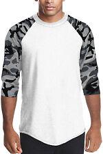 White camouflage Long sleeve raglan T shirt Men's Raglan baseball T-shirt Pro 5