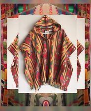 Vintage Cotton Colorful Aztec Southwestern Fringe Boho Poncho Os