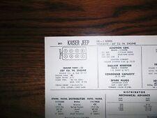 1966 Kaiser Jeep EIGHT J-Series Models Vigilante 327 CI V8 Tune Up Chart