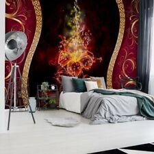 Tapete Fototapete Vlies Luxus-Rot Und Gold Blumen-Design