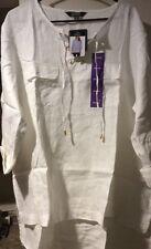 New Women's White Tunic Shirt XXL/2X/1X Blouse Career Top $89 Hi Lo Linen Dressy