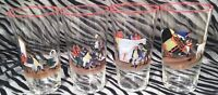 4 Handpainted Charles Dickens Scenes Glass Tumblers w/Red Trim 5 & 1/4 in tall