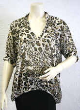 $$$ BCBGeneration CHESTNUT COM (KML1F057) PRINTED 3/4 SLEEVE RUCHED TOP NWT XS