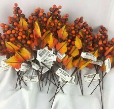 "9"" Fall Mini Berry Picks Silk Flower Floral Arrangements Three dozen 3 Autumn"