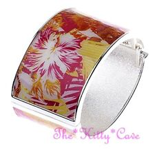 Floral Hibiscus Flower Jungle Print Resin on Wide Silver Oval Hinged Bangle Cuff