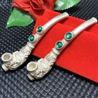 Tibetan Silver pipe Smoking embedded green agate Dragon phoenix Tobacco rod 1pcs