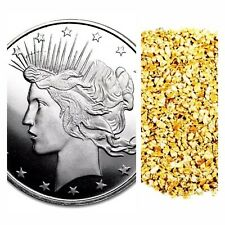 1 TROY OZ .999 SILVER PEACE DOLLAR BU +10 PIECE ALASKAN PURE GOLD NUGGETS
