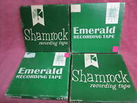"4 Reels SHAMROCK or EMERALD Recording Tape 1800 Ft 7""  to open reel"