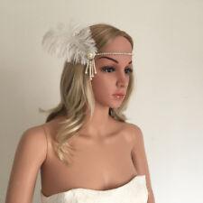 Vintage White Feather Headband Wedding Headpiece 1920s Flapper Party Dress