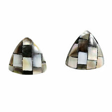 Oceans Charm Triangle Button Shaped Mosaic Black Lip Shell Stud Earrings