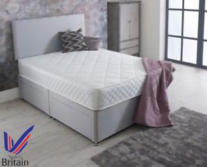 DAMASK MEMORY FOAM MATTRESS DIVAN BED + MATTRESS + HEADBOARD 3FT 4FT 4FT6 5FT
