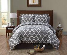 Reversible Comforter Set Bed in a Bag King Size Bedding Bedspread Grey White