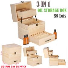 Aroma Essential Oil Storage Box 59 Slots Wooden Holder Organizer Aromatherapy UK