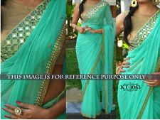 Bollywood Designer Party Wear Sea Green Color Georgette Fabric Mirror work Saree