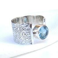 Blue Topaz Stone Ring Solid 925 Sterling Silver Ring Band Ring Handmade Ring