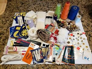 Large Vintage Sewing Notions Lot - Old Buttons, Thread, zippers, Rick Rack tons!