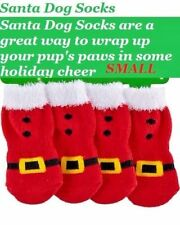 Christmas Holiday costume dog clothes  Santa Dog Red & Fur Socks Small