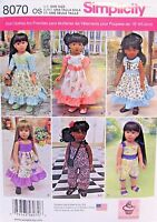 """Doll Clothing Simplicity 8070 Sewing Pattern For 18"""" Dolls  Dresses New Uncut"""