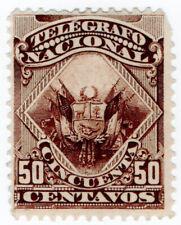 (I.B) Peru Telegraphs : 50c Dark Brown (1876)
